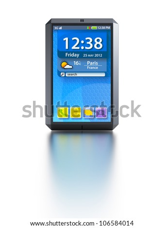 modern touchscreen smartphone, isolated 3d render