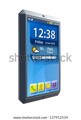 modern touchscreen smartphone, isolated 3d render - stock photo