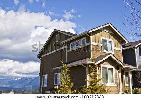 Modern town house on a summer day
