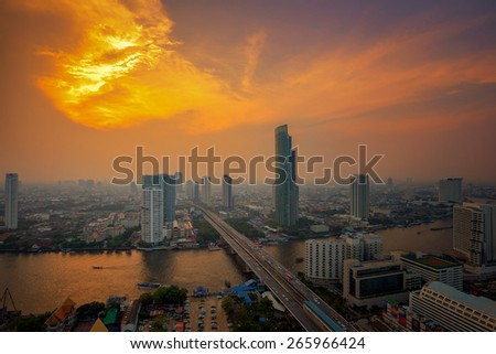 Modern Town in Bangkok beside Chao Phraya River in Thailand