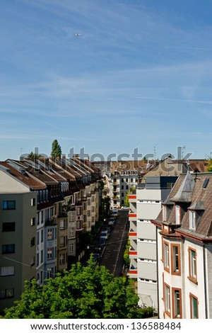 modern townscape Basel, Switzerland, sunny day - stock photo