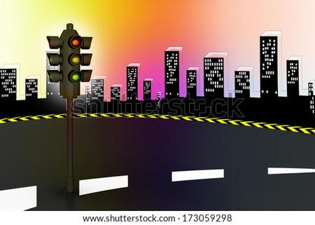 Modern traffic lights and high way - stock photo