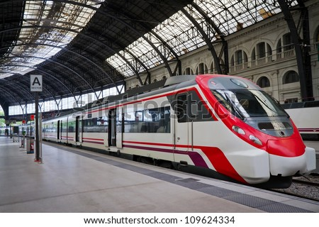 Modern train at the station. Barcelona, Spain. - stock photo