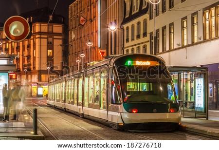 Modern tram in Strasbourg city center. France, Alsace - stock photo