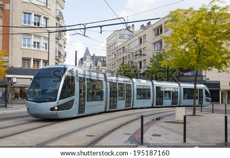 Modern tram in Valenciennes, France - stock photo