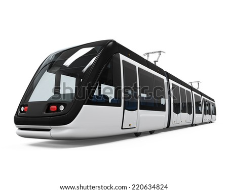Modern Tram Isolated - stock photo