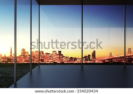 Modern transparent empty room with city view at sunset 3D Render - stock photo