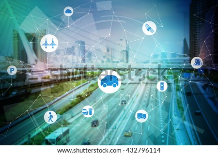 modern transportation and communication network, intelligent vehicle, smart transportation, internet of things, abstract image visual - stock photo