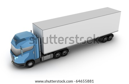 Modern truck with cargo container, isolated on white 3d image. My own design - stock photo