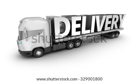 Modern truck with delivery word, isolated. My own truck design. - stock photo