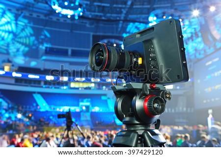 modern tv camera - stock photo