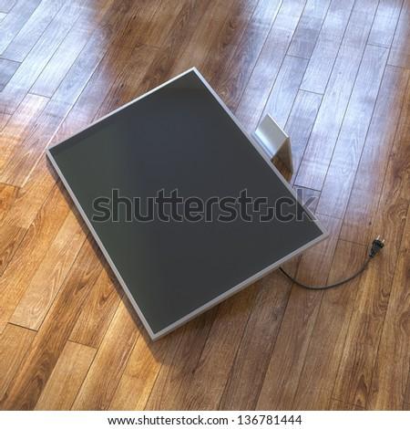 Modern Tv Screen On The Laminate Floor - stock photo