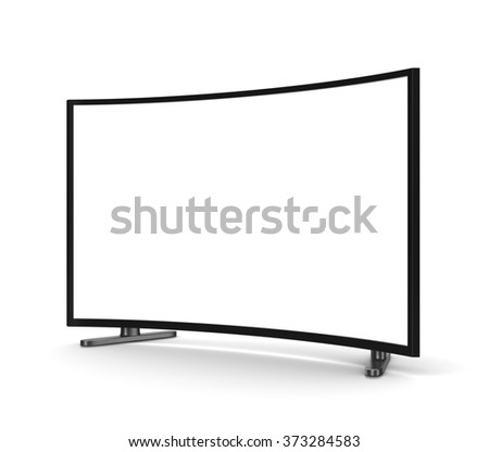 Modern Tv Set with Blank Curved Screen on White Background 3D Illustration