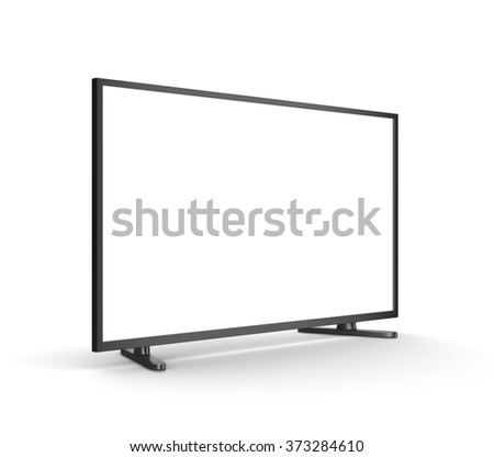 Modern Tv Set with Blank Screen on White Background 3D Illustration - stock photo