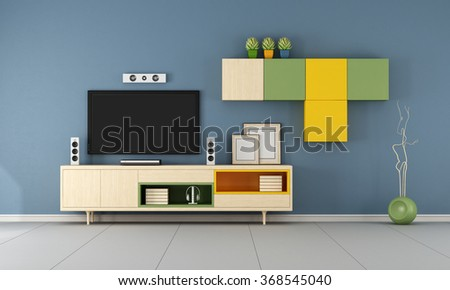 Modern TV wall unit in a  blue  living room  - 3D Rendering - stock photo