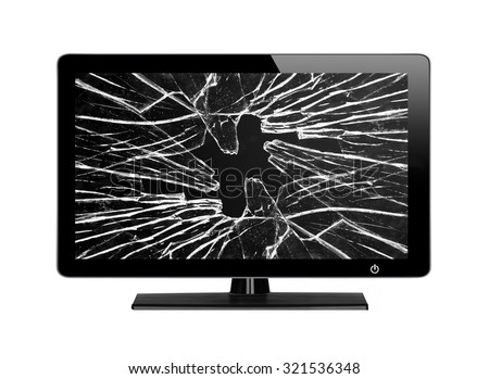 Modern TV with broken screen isolated on white background - stock photo