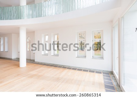 Modern unfurnished apartment with parquet on the floor - stock photo