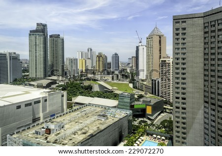 Modern urban buildings in Makati City, Philippines