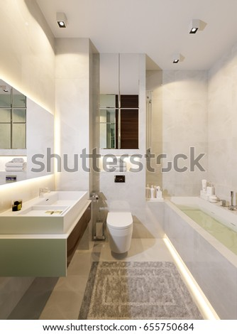bathroom tile mirror interior view modern bathroom foreground counter stock photo