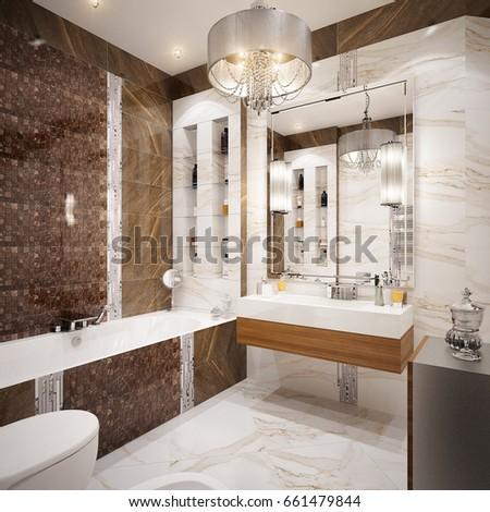 Modern Urban Contemporary Bathroom Wc Interior Stock Illustration ...
