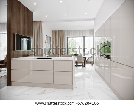 Modern Urban Contemporary Bright Large White Stock Illustration - Large marble bathroom tiles