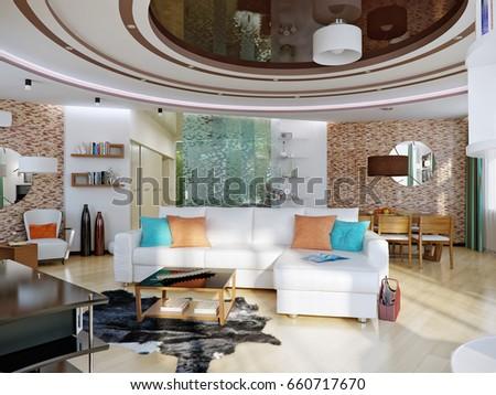Modern urban contemporary living room dining stock for Hotel design orange