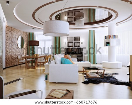 Modern Urban Contemporary Living Room Dining Hotel Interior Design With White Orange Walls