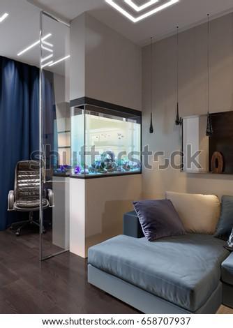 Modern urban contemporary living room hotel interior design with gray beige  walls, fireplace, aquarium