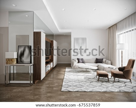 Modern Urban Contemporary Living Room Hotel Interior Design With White Walls Tv Kitchen