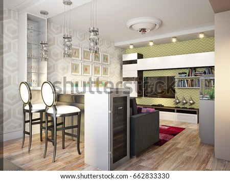 Modern Urban Contemporary Studio Open Living Room And Dining Interior Design With Bar Counter