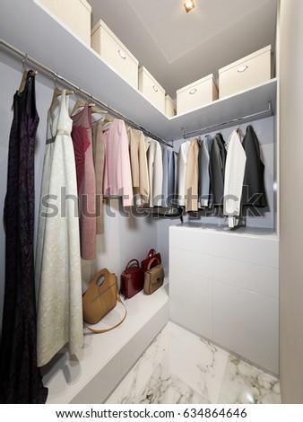 Exceptional Modern Urban Contemporary Walk In Closet Wardrobe Room Interior Design. 3d  Render