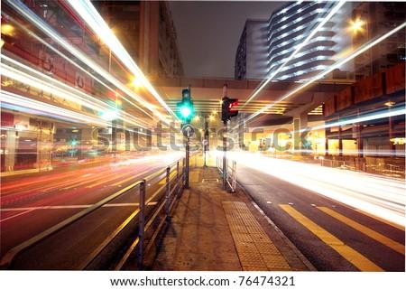 Modern urban landscape at night - stock photo