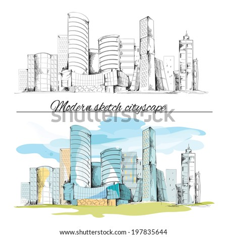 Modern urban sketch building hand drawn cityscape set  illustration - stock photo