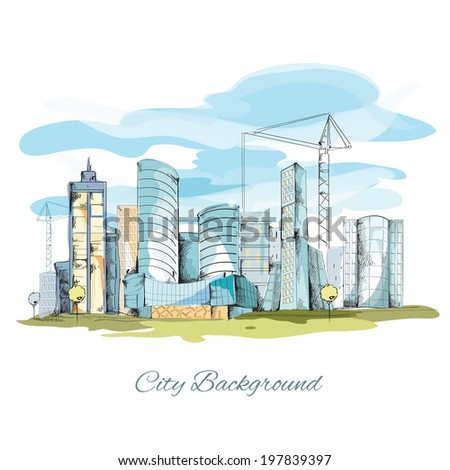 Modern urban sketch city background with building cityscape  illustration