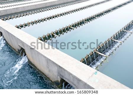 Modern urban wastewater treatment plant - stock photo
