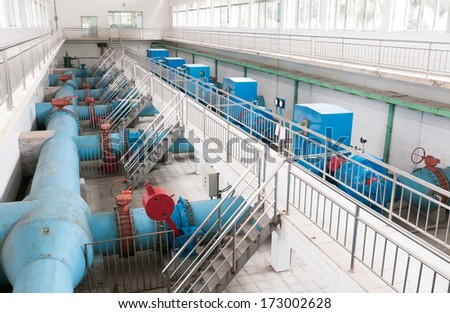 Modern urban wastewater treatment plant. - stock photo
