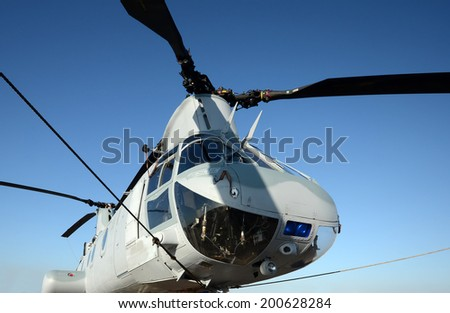 Modern US Army rescue helicopter nose view - stock photo