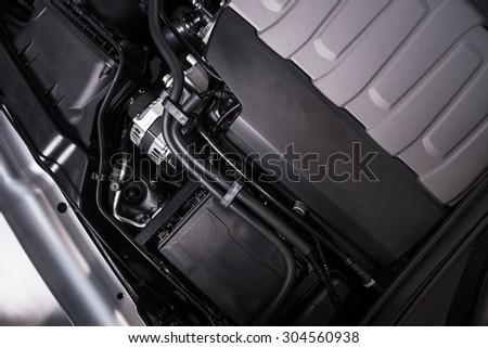 Modern Vehicle Engine Closeup Photo. Powerful Car Engine. - stock photo