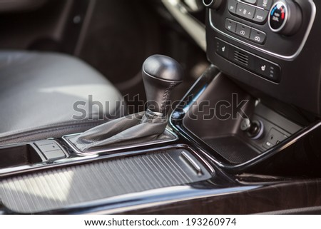 Modern vehicle interior with automatic gear - stock photo