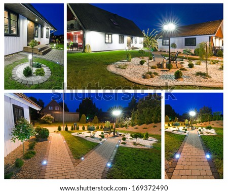 Modern villa at night- collage - stock photo
