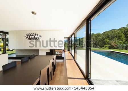 Modern villa, interior, beautiful dining room - stock photo