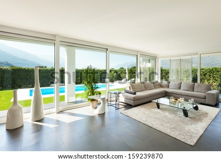 Modern villa, interior, beautiful living room - stock photo