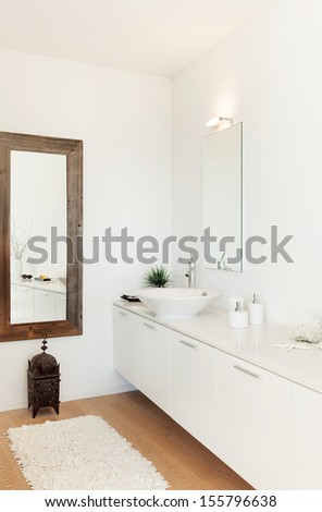 Modern villa, interior, view bathroom - stock photo