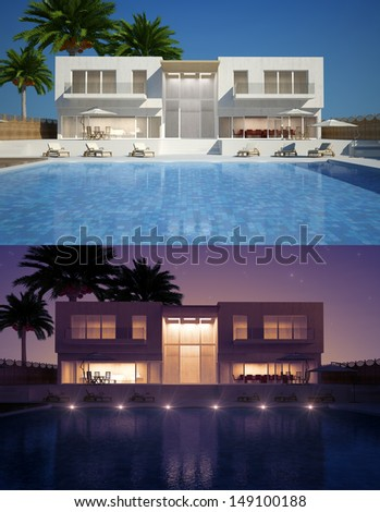 Modern villa with water pool day and night view - stock photo