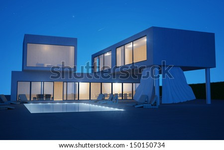 Modern villa with water pool night view - stock photo