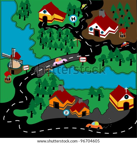 Modern village illustration with automobiles and a highway