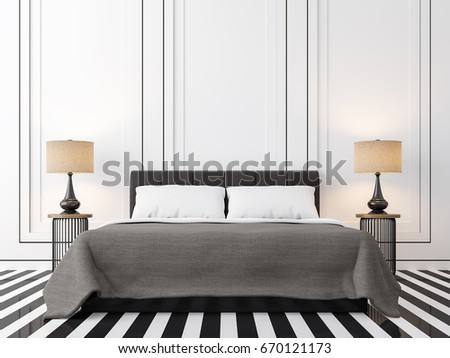Modern Vintage Bedroom With Black And White 3d Rendering Image. There Is A  Black And