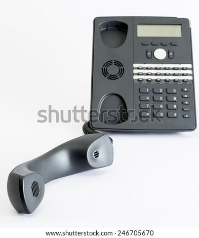 modern voip phone isolated on grey background. single object - stock photo