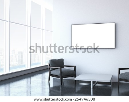 Modern waiting room at office. 3d rendering - stock photo