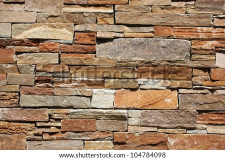modern wall decoration with small marble tiles - stock photo